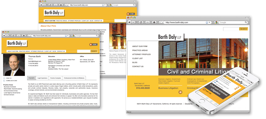 Law firm web design, development, seo and content management for Barth Daly