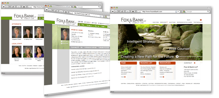 Law firm web design, development, seo and content management for Fox and Bank