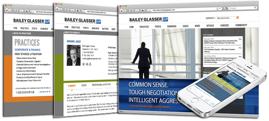 Law firm web design, development, seo and content management for Bailey and Glasser