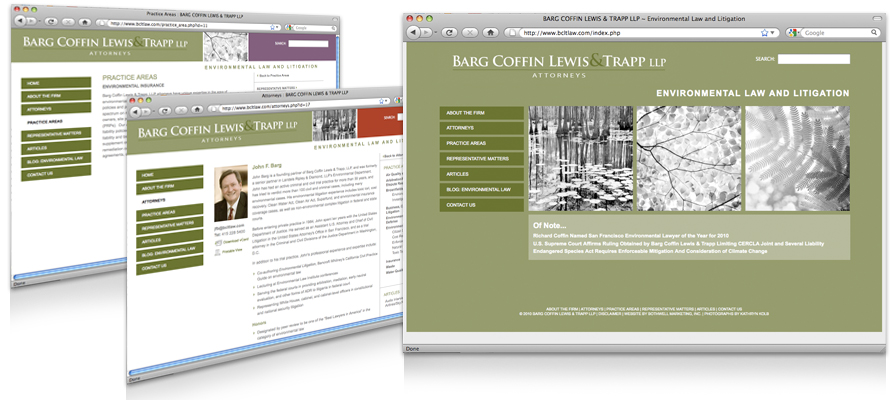 Law firm web design, development, seo and content management for Barg Coffin Lewis & Trapp LLP