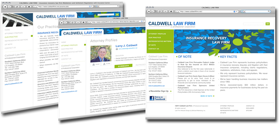 Law firm web design, development, seo and content management for Caldwell Law Firm