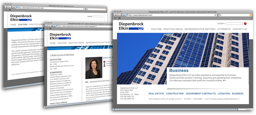 Law firm web design, development, seo and content management for Diepenbrock Elkin LLP
