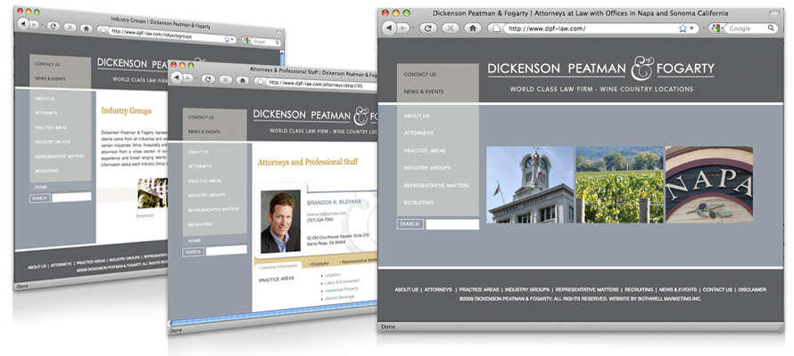 Law firm web design, development, seo and content management for Dickenson Peatman & Fogarty