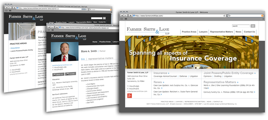 Law firm web design, development, seo and content management for Farmer Smith & Lane LLP