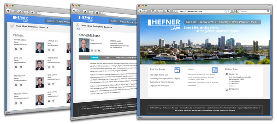 Law firm web design, development, seo and content management for Hefner Stark Marois LLP