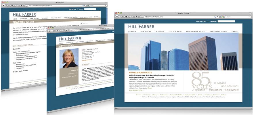Law firm web design, development, seo and content management for Hill Farrer