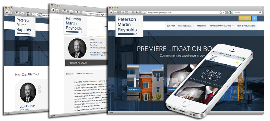 Law firm web design, development, seo and content management for Peterson, Martin & Reynolds LLP