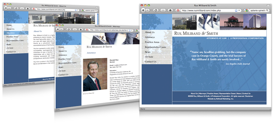 Law firm web design, development, seo and content management for Rus Miliband & Smith
