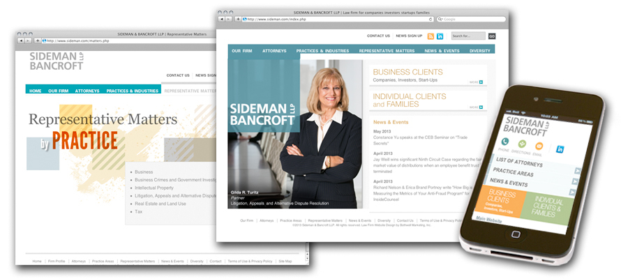 Law firm web design, development, seo and content management for Sideman Bancroft