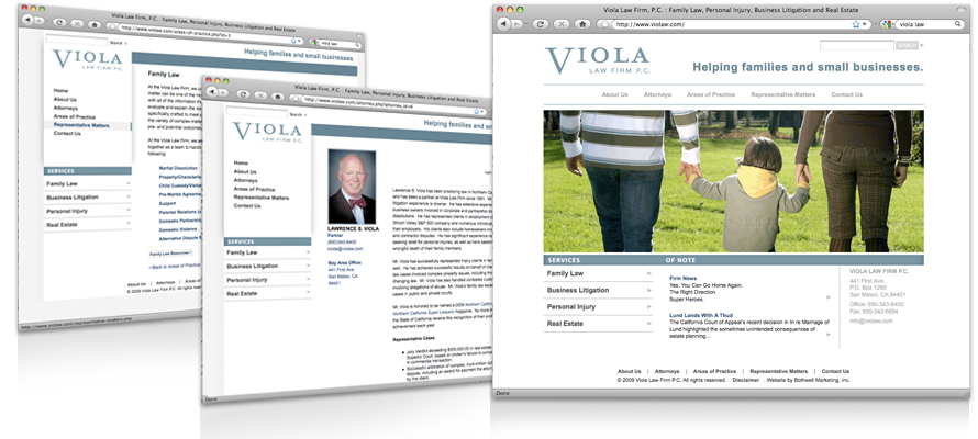 Law firm web design, development, seo and content management for Viola Law Firm