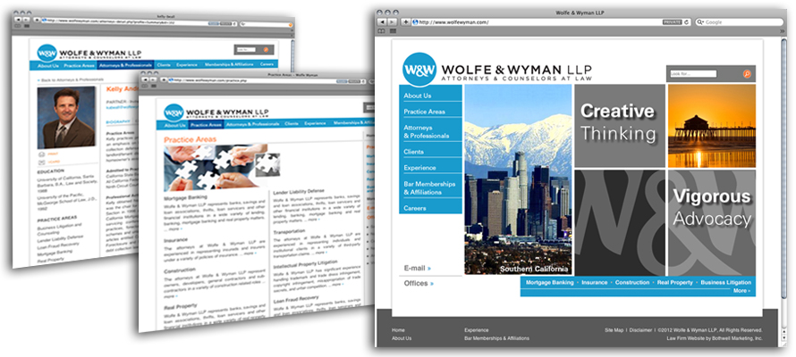 Law firm web design, development, seo and content management for Wolfe & Wyman LLP