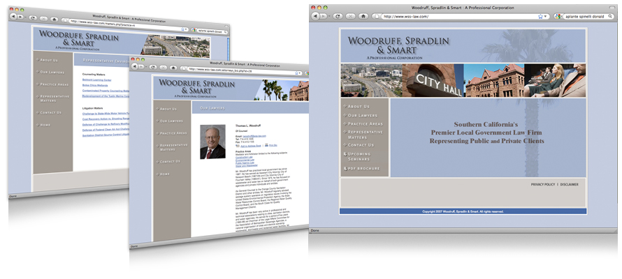 Law firm web design, development, seo and content management for Woodruff Spradlin & Smart